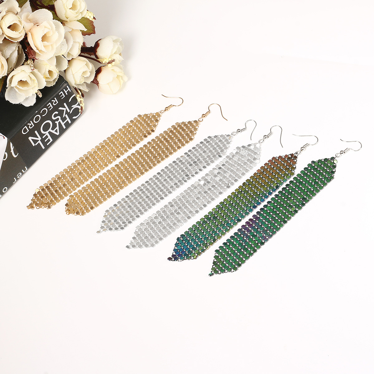 Tassels Long Earrings Sequins Geometric Drop Fashion Jewelry for Women