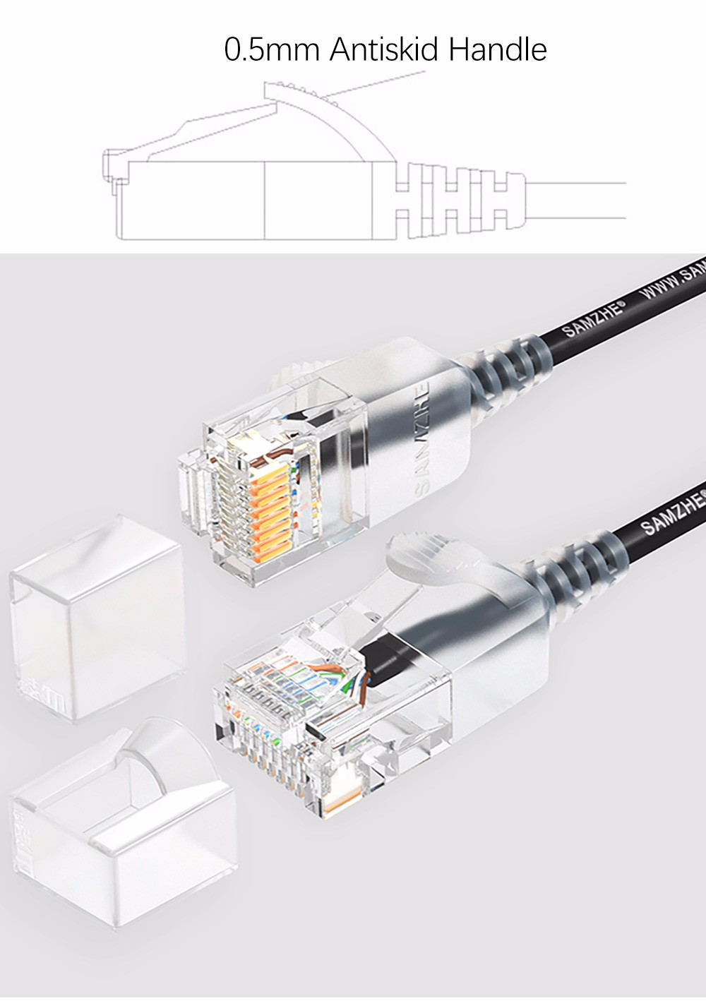 SAMZHE 0.5~5M 10Gbps Ultrafine CAT6A White Ethernet Patch Cable Slim LAN Networking Cable