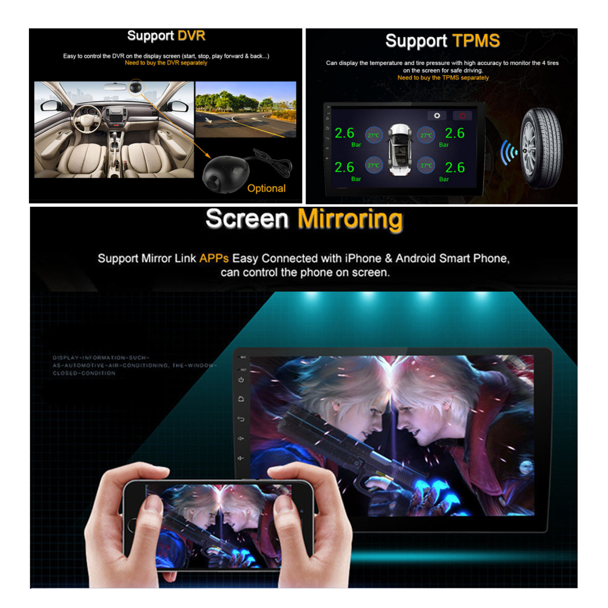 9Inch for Android Car Stereo Player MP5 FM 3G WIFI bluetooth GPS Rear Camera for Toyota Corolla 2008-2013