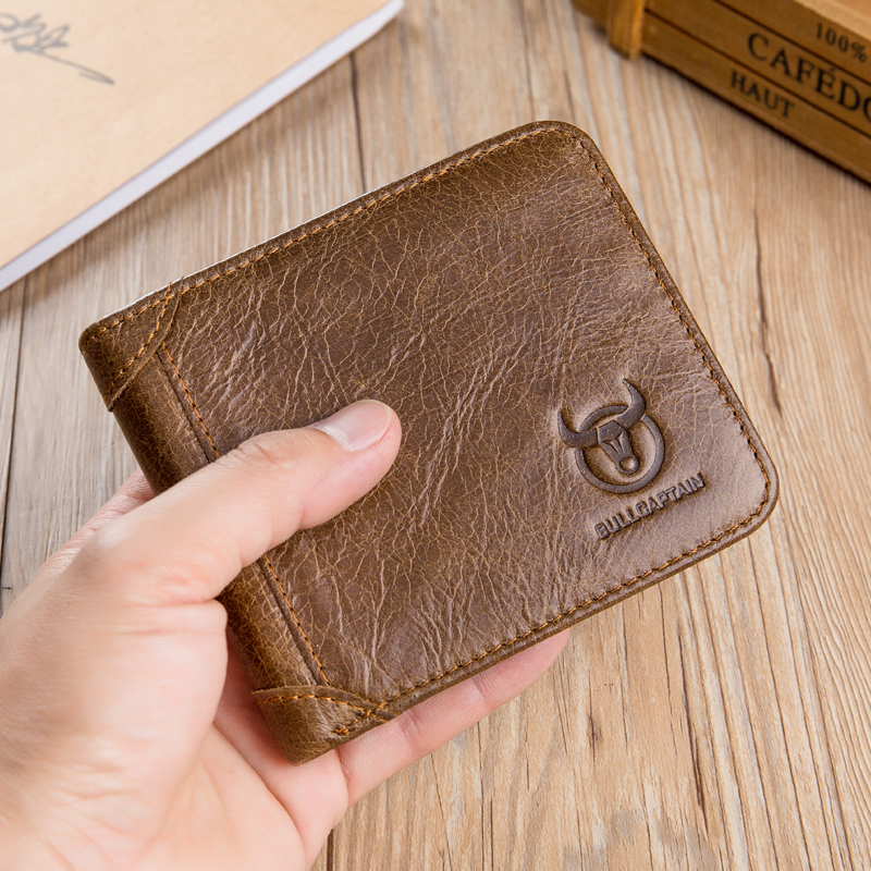 Bullcaptain Men Classic Trifold Wallet