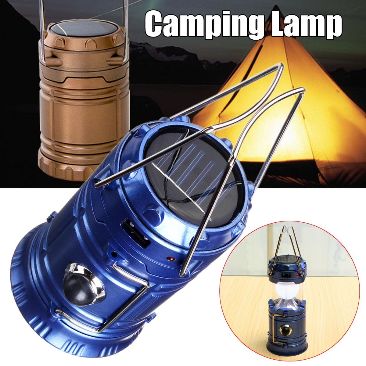 New Solar Camping Lantern Lamp Portable Outdoor Rechargeable LED Tent Hiking (Flashlight Accessories)