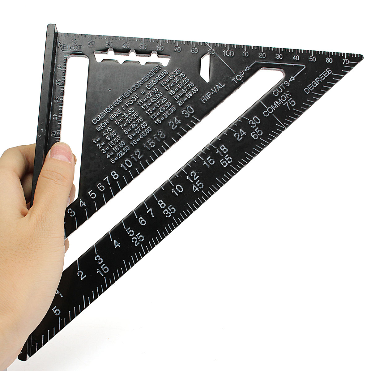 Raitool™ AR01 260x185x185mm Metric Aluminum Alloy Triangle Ruler Black Triangular Rule