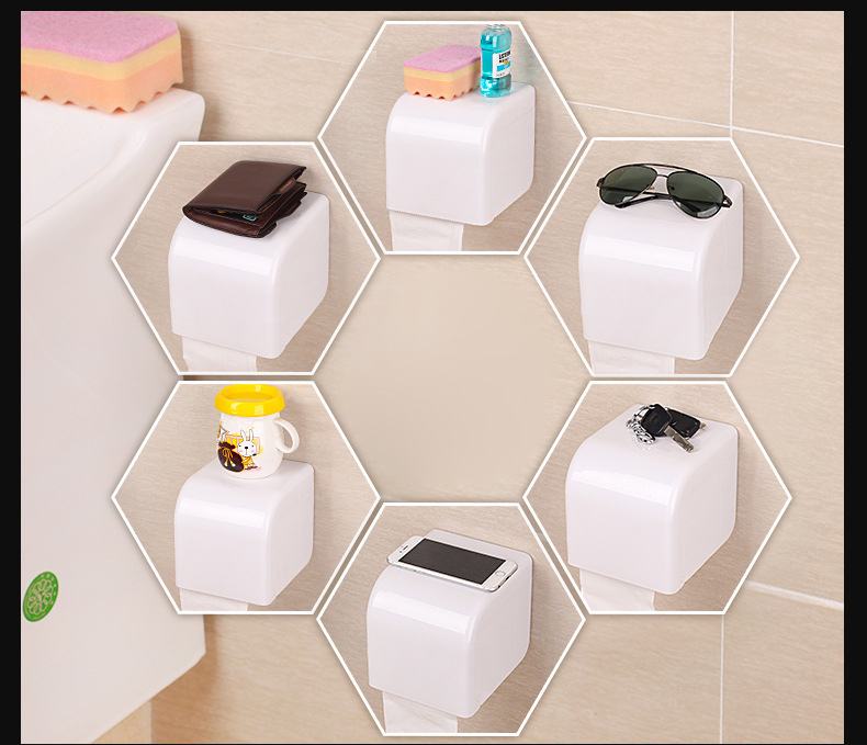 Plastic Seamless Sucker Cup Paper Rack Comprehensive Waterproof Tissue Box Holder