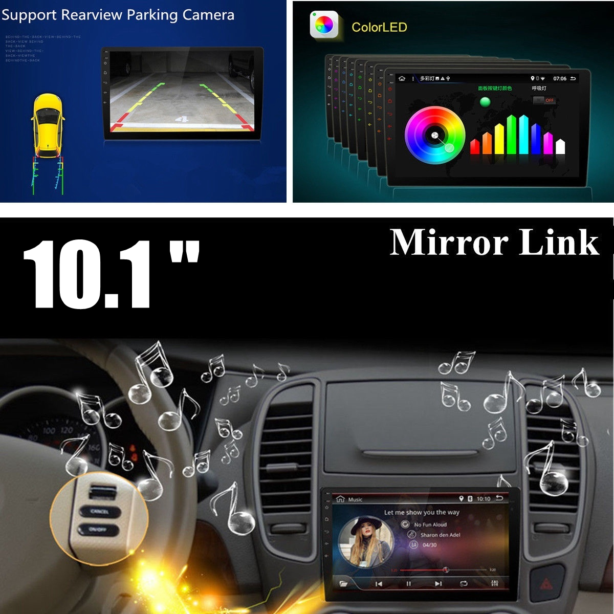 10.1Inch 2 DIN for Android 8.1 Car MP5 Player 1+16G Quard Core Touch Screen GPS WiFi DVR Support Camera