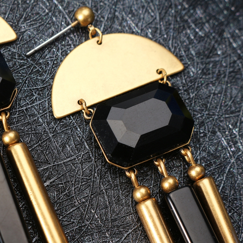 JASSY® Vintage Black Agate Earrings Elegant Long Tassel