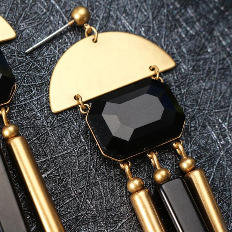 JASSY® Vintage Black Agate Earrings Elegant Long Tassel