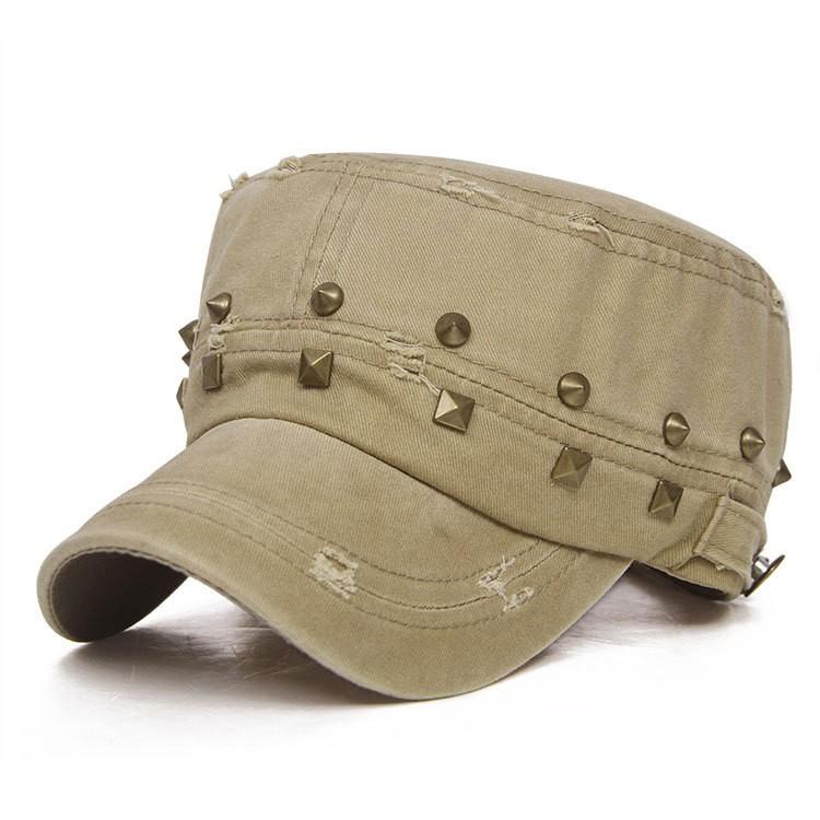 Women Ladies Miltary Army Cotton Blend Baseball Rivet Flat Cap Adjustable Cadet Visor Hat