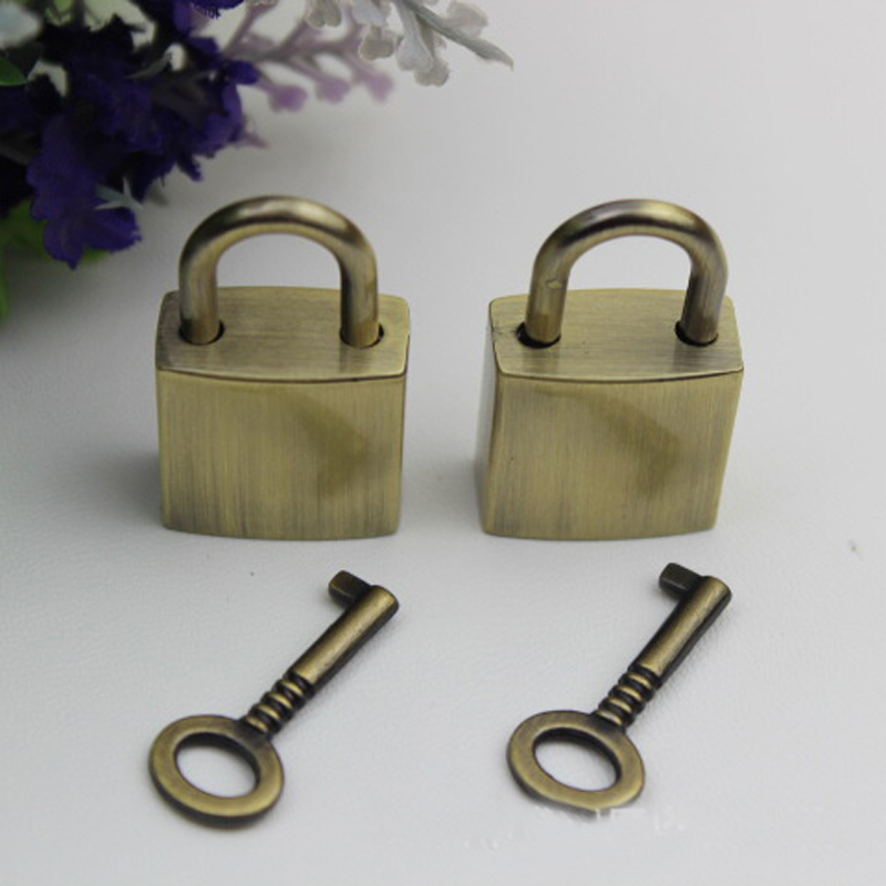 Sliver Bronze Gold Black Mini Lock with Key Jewelry Bag Lock Keys Hardware Accessories