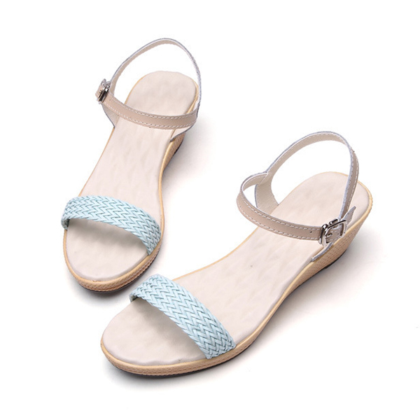 Shoes Women Summer Wedge Sandals Soft Comfortable Knitting Beach Casual Leather Sandal Shoes