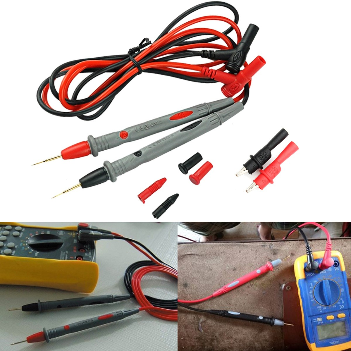 DANIU 20A Multimeter Test Probe Test Lead Alloy Alligator Clips Agilent/Ideal Clamp Multi Meters
