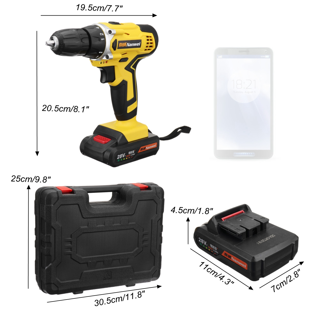 28V Cordless Drill Driver Rechargable Electric Drill Power Drills Driver 0.8-10mm