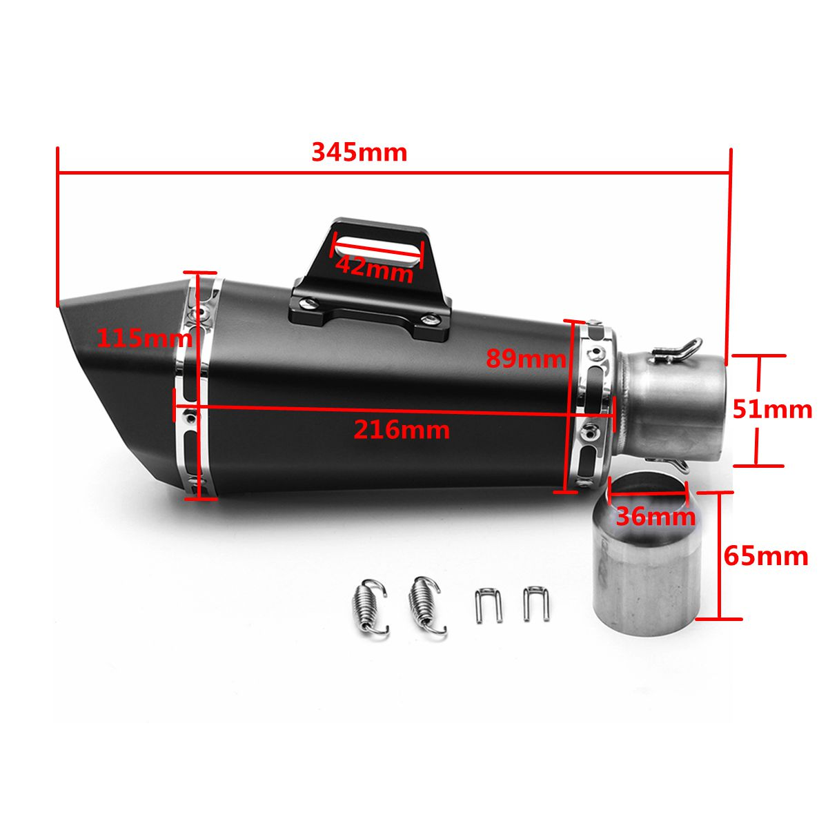 36mm-51mm Motorcycle Aluminum Full Exhaust Muffler Pipe System Universal