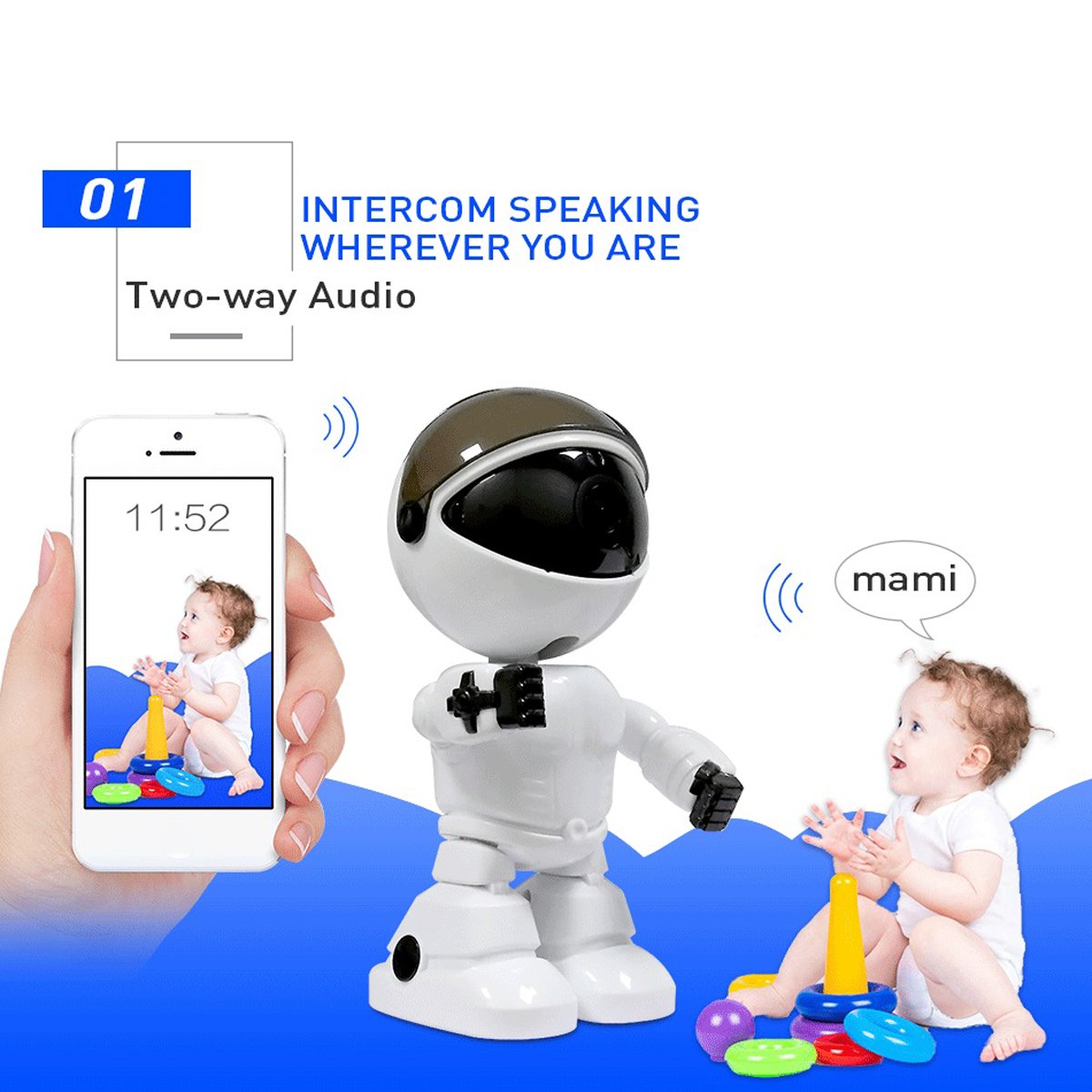 1080P Wifi Robot Home Security IP Camera Night Vision 128G Alexa Echo