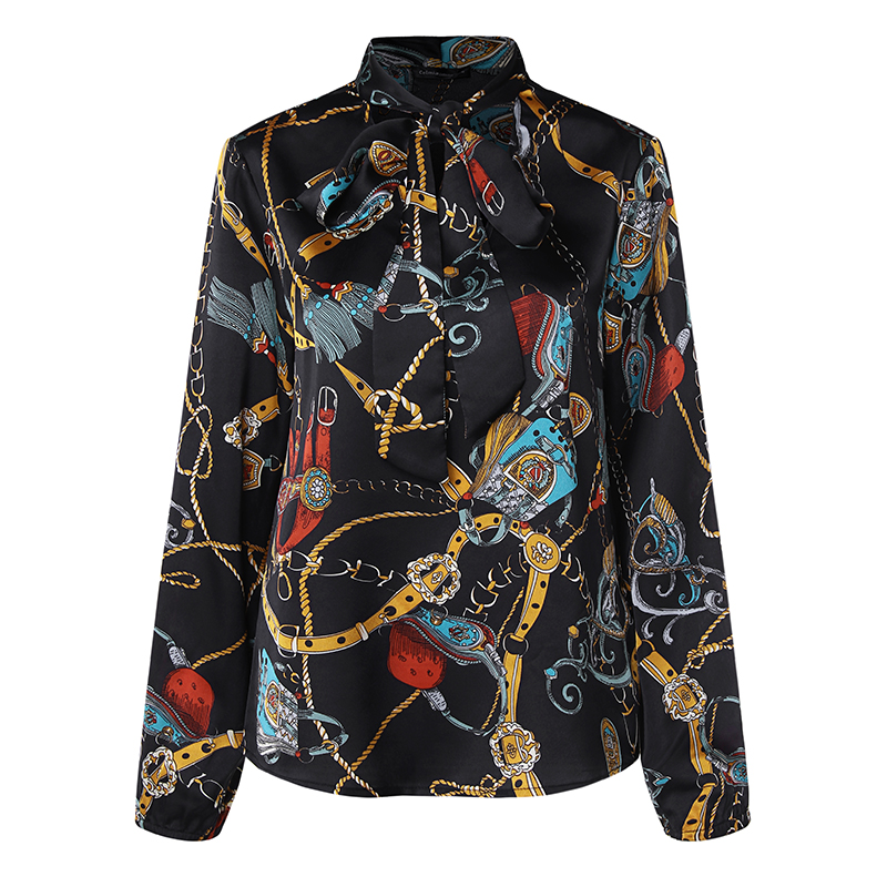 Women Vintage Bow Tie V-neck Long Sleeve Floral Print Blouse