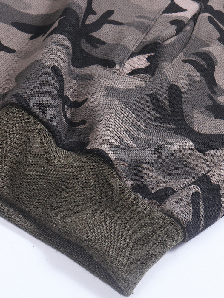 Camouflage Loose Army Green Long Sleeve Hole Short Jacket