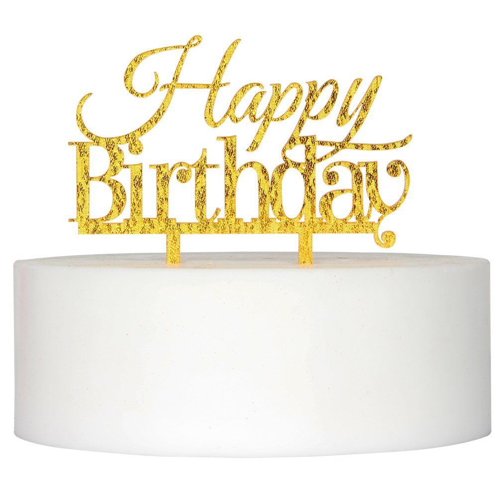 Honana CF-CT03 Happy Birthday Acrylic Cake Topper Golden Shining Party Cake Decoration