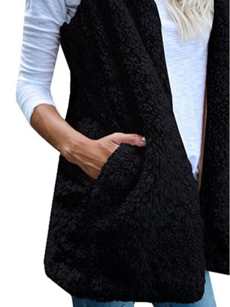 Women Pure Color Sleeveless Hooded Pockets Baggy Cardigans