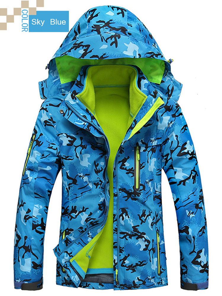 Plus Size Women Camouflage Waterproof Windproof Hooded Jacket