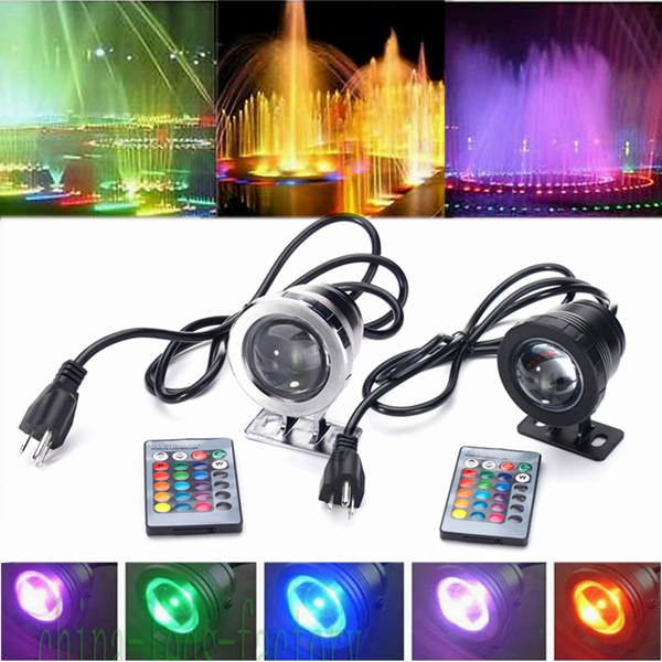 10W RGB LED Light Fountain Pool Pond Spotlight Waterproof Remote Underwater Lamp
