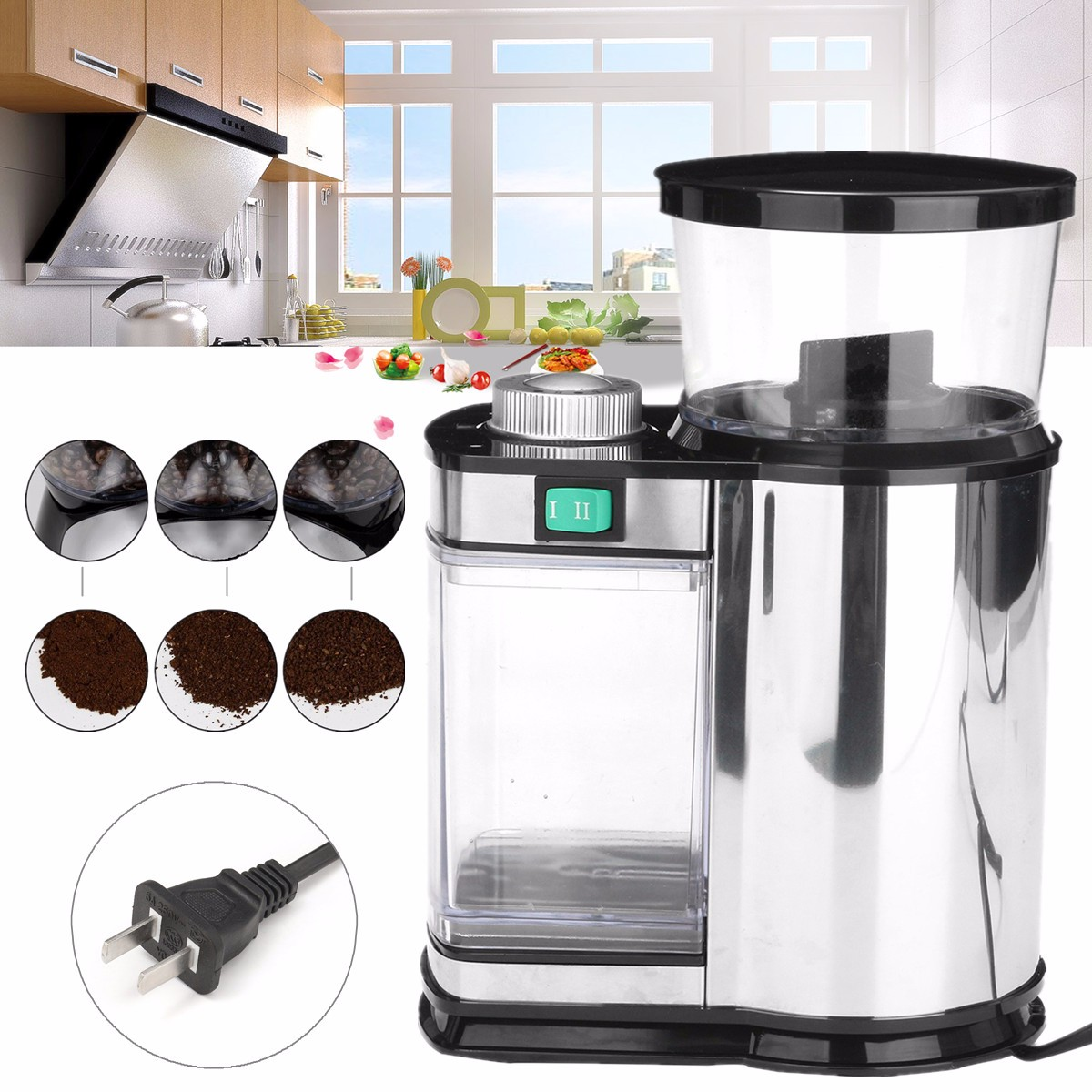 Electric Stainless Steel Coffee Bean Spice Grinder Mill US Plug Kitchen Bar Tool Coffee Grinder