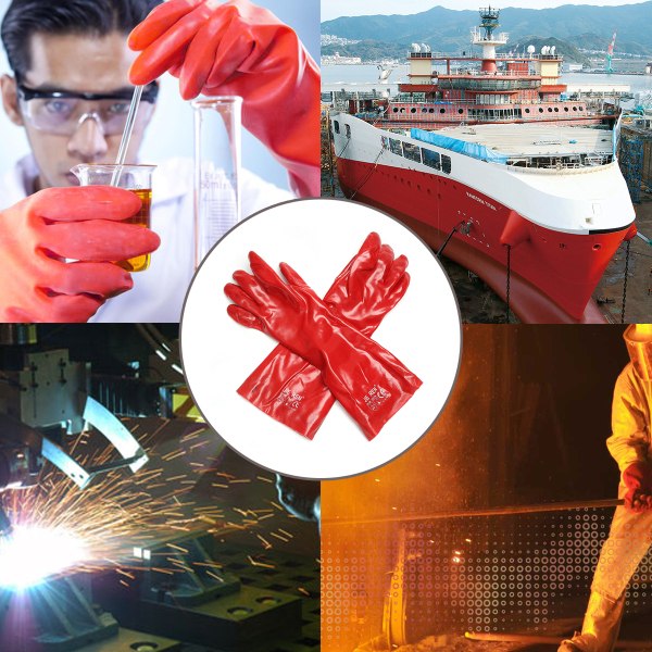 PVC Work Gloves Acid Alkali Resistance Oil Industrial Chemical Handling Gauntlet Safety Red