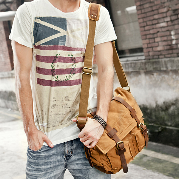 Ekphero Men Cowhide Canvas Messenger Bag Crossbody Bag
