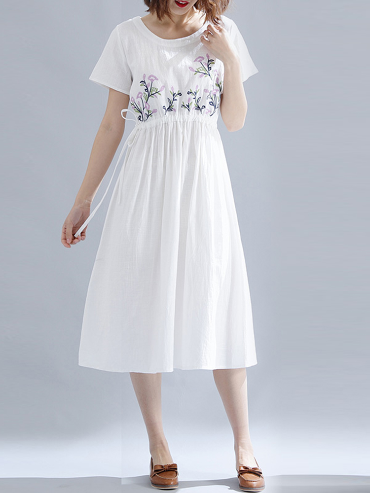 Cotton Embroidered O-neck Short Sleeves Dress
