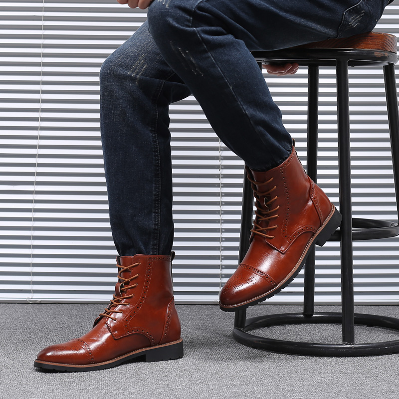 Men Brogue Mid-calf Boots