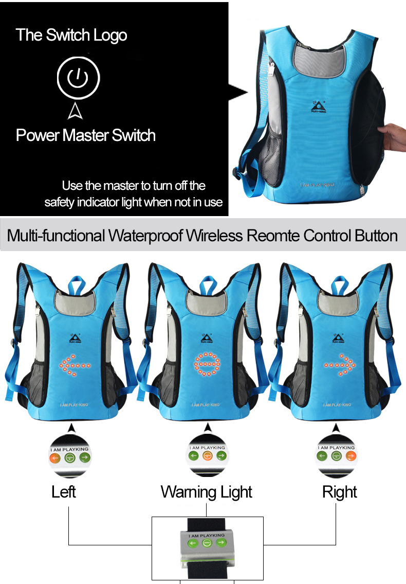 PLAY-KING 18L Samrt Waterproof Cycling Safety Indicator Light Backpack 3 Modes Wireless Remote Control Riding Backpack Cycling Enquipment