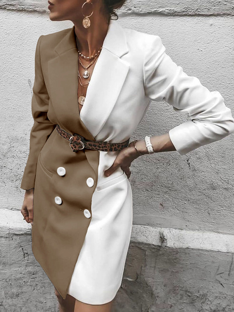 Long Sleeved Color Block Causal Blazers Coats