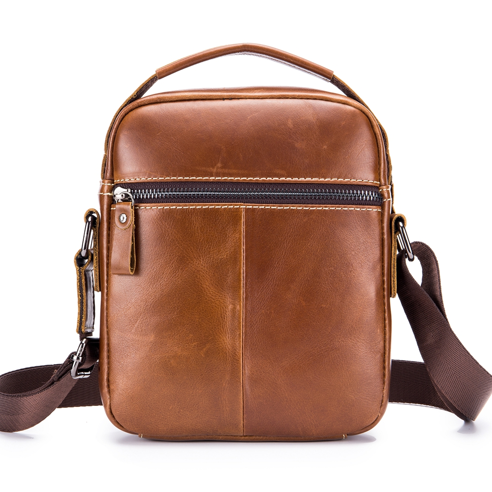 Men Classic Leather Handbag with Detachable Shoulder Strap