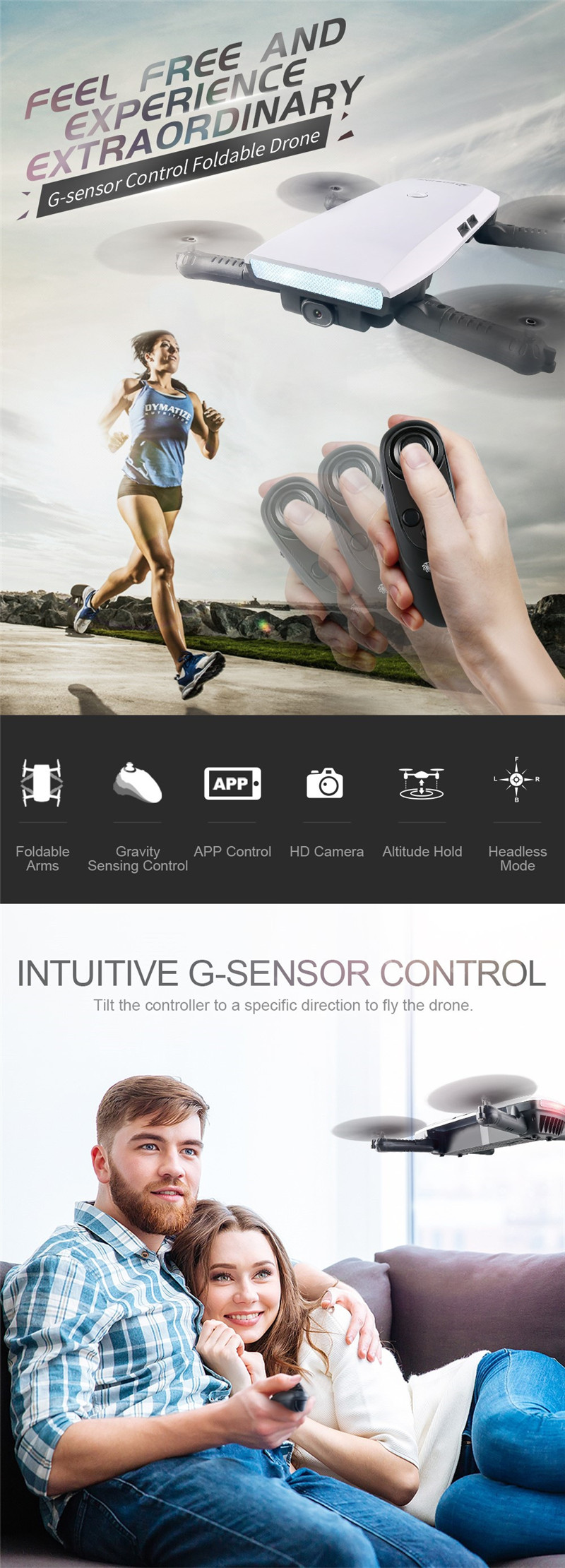 Eachine E56 720P WIFI FPV Selfie Drone With Gravity Sensor Mode Altitude Hold RC Quadcopter RTF