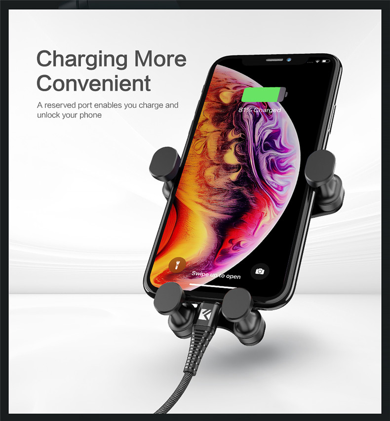 Floveme Gravity Linkage Automatic Lock Car Mount Air Vent Holder for Samsung Xiaomi Mobile Phone