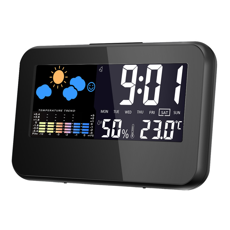Loskii DC-003 Digital Wireless Hygrometer Therometer LEDプロジェクション天気ステーション Alarm Clock