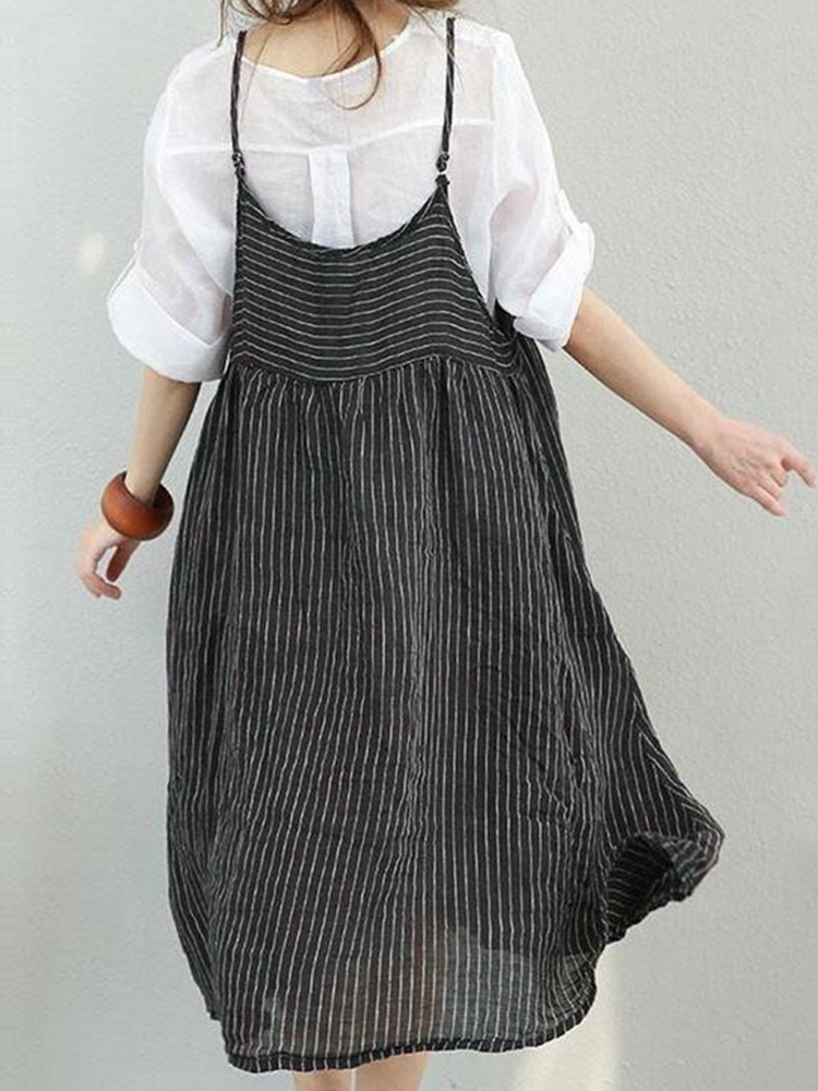 M-5XL Women Stripe Strap Mid-long Dress