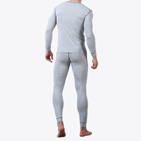 Fall Thermal Cotton Breathable Elastic O Neck Patchwork Warm Pajamas Set for Men