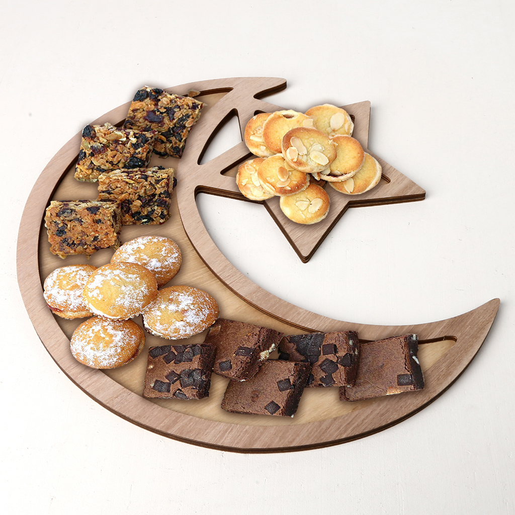 Rustic Wooden Islam Ramadan Food Serving Tray Pastry Dinner Plates Holder Decorations
