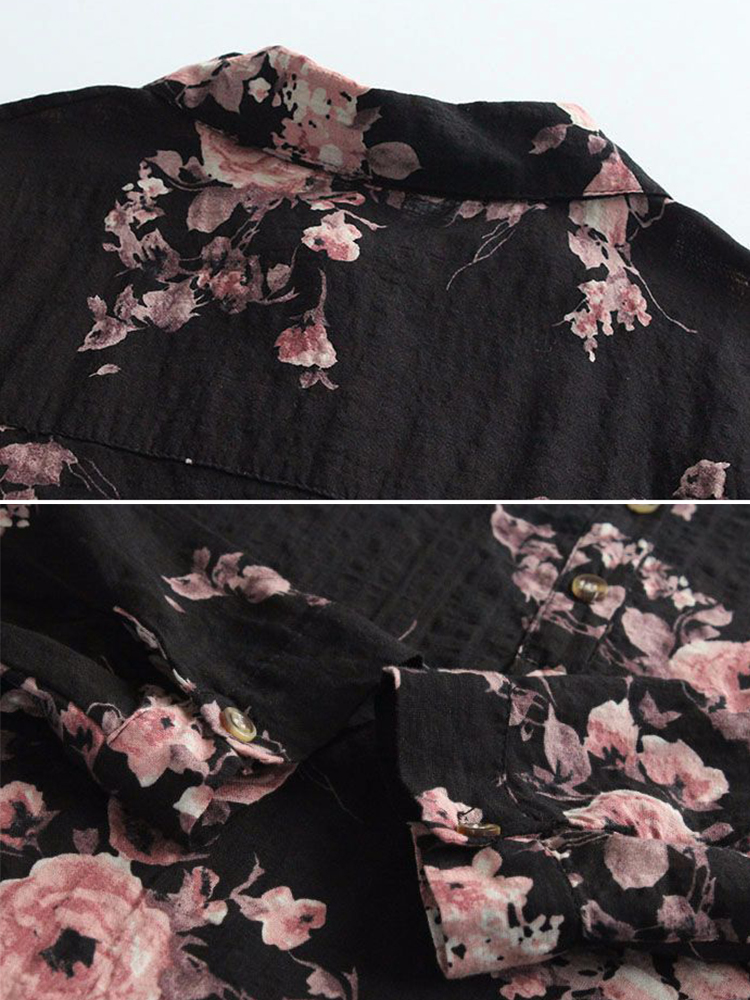 Vintage Women Casual Cotton Loose Floral Print Blouse