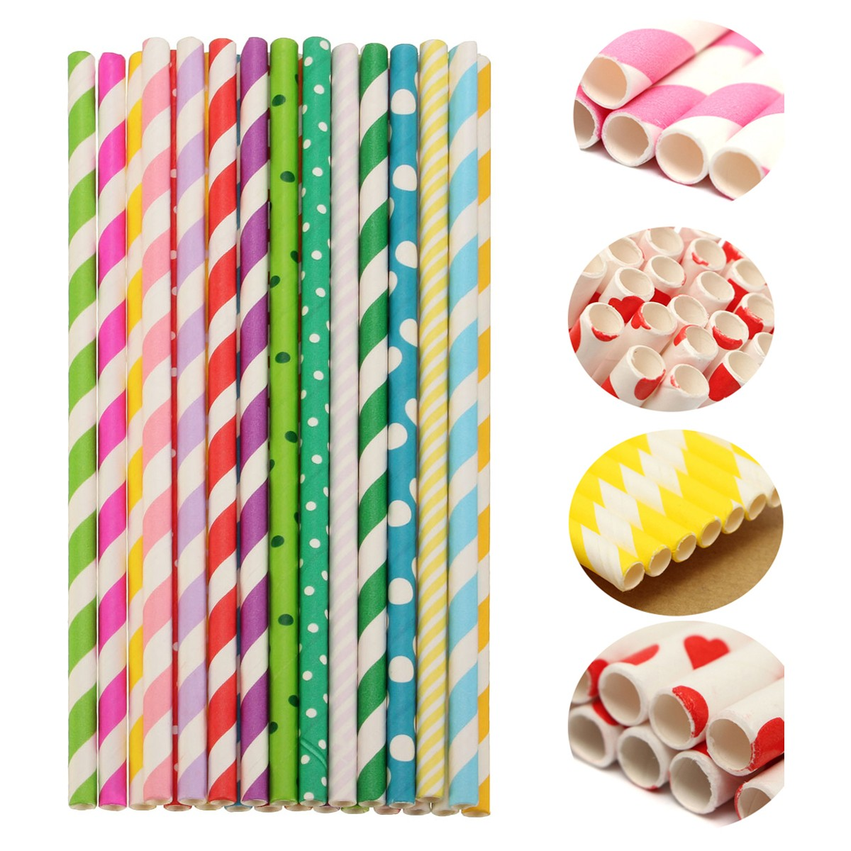 25Pcs/Bag Candy Color Stripe Art straw Disposable Wedding Party Decoration Supply