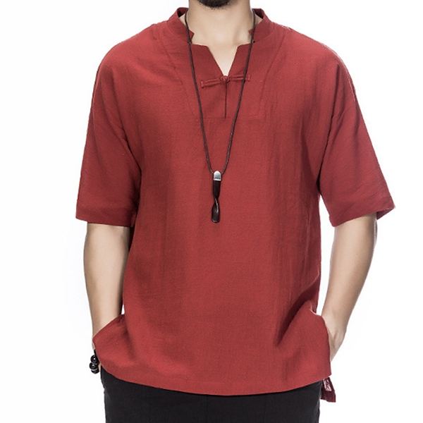 Men Chinese Style Cotton Linen Loose Short Sleeve T-Shirt