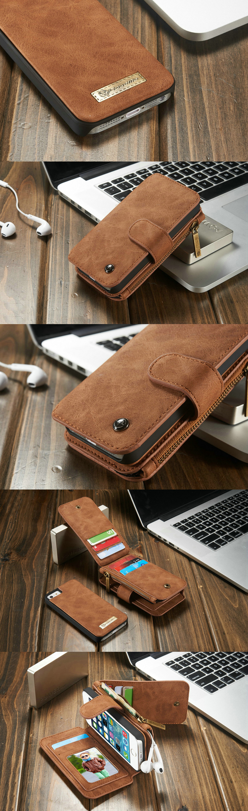 CaseMe Vintage Magnetic Leather Multifunction Wallet Card Pocket Zipper Flip Case Cover For iPhone SE 5 5S