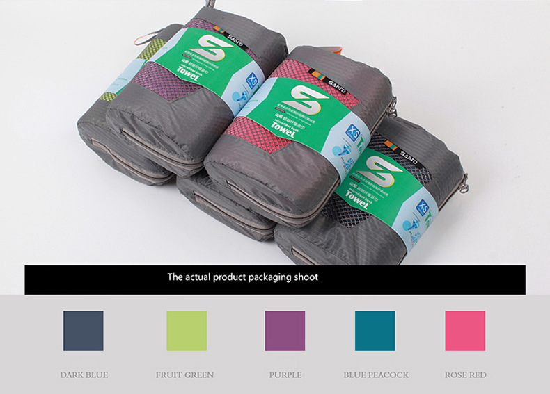 Quick Dry Sports Microfiber Towel With Bag For Travel Yoga Hiking Compact Carry Pouch and Antimicrobial 5 Colors
