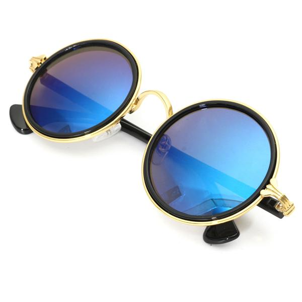 Men Women Vintage Sunglasses Colored Mirror Lens Steampunk Round ...