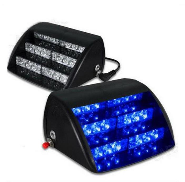 18 LED Blue 5W 12V General Automotive LED Wind Shield Trapezoidal Strobe Light Lamp