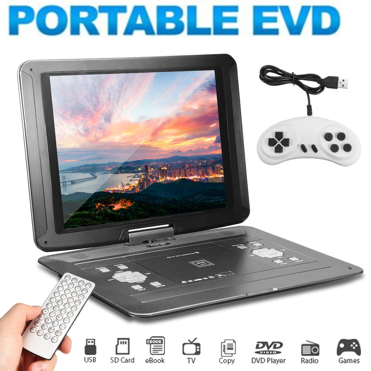 17 Inch Portable Car Rechargeable DVD Player Remote Control USB SD 270 Degree Screen Game