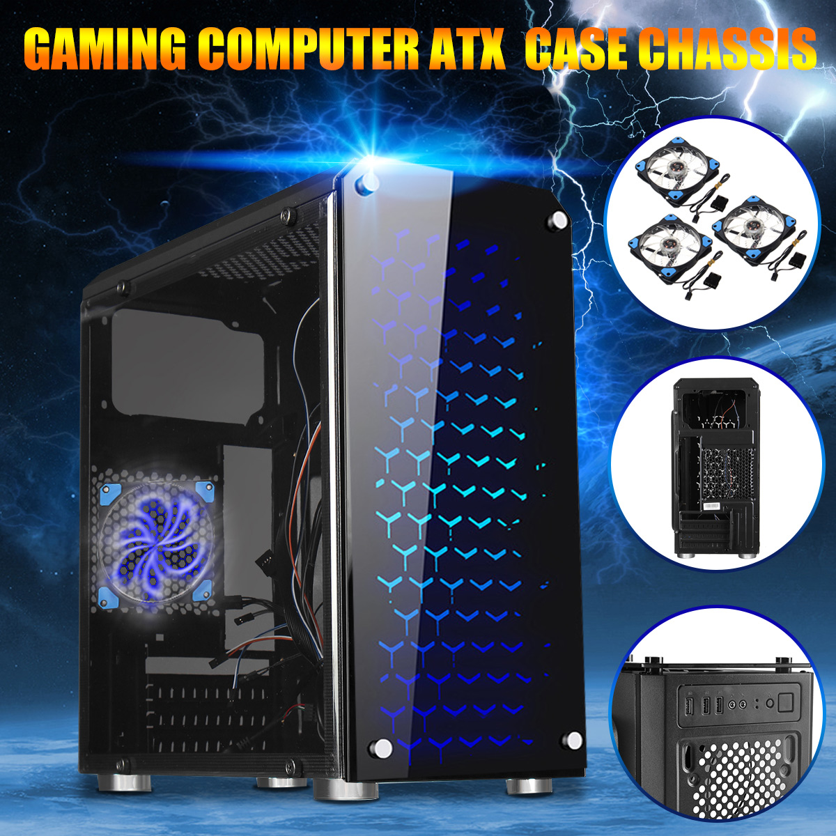 USB 3.0 ATX/M-ATX/ITX Tower Computer Gaming PC Case Cover With 3 Blue LED Fan