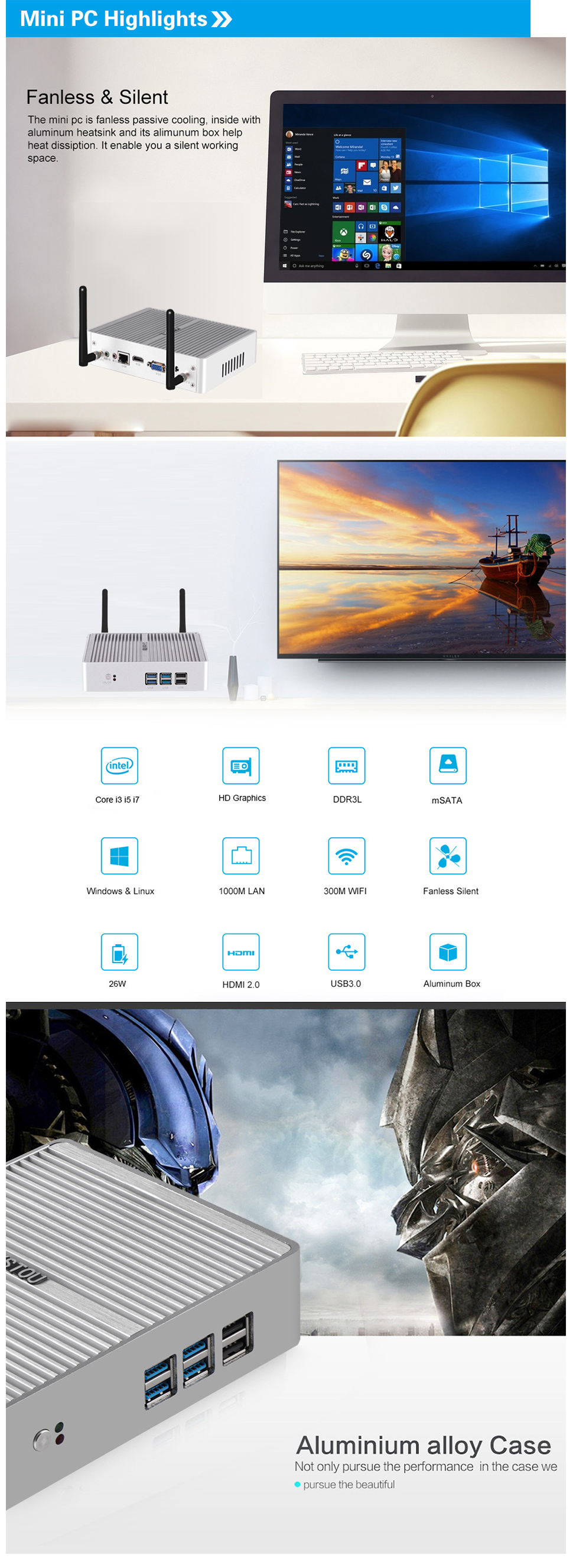 HYSTOU H2 Mini PC i5 7200U 8GB+128GB/8GB+256GB Dual cores Win10 DDR3 Intel HD Graphics 620 3.1GHz Fanless Mini Desktop PC SATA mSATA MIC VGA HDMI 300M WIFI
