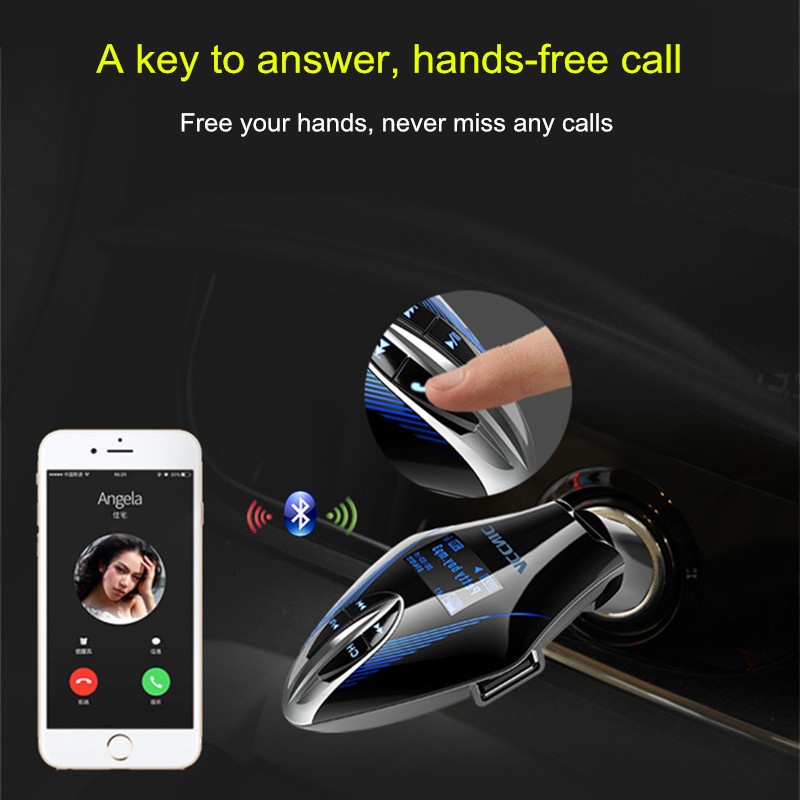 ACCNIC 2.1A LED Display Hands-free Call U Disk TF Card bluetooth Music MP3 Player Car Charger