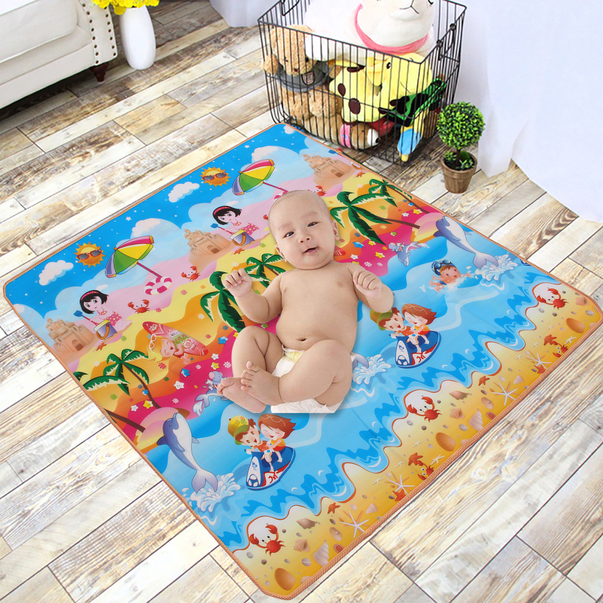 2x1.8m Double Sided Baby Kids Play Mat Foam Floor Activity Soft Gym Crawl Creeping Blanket