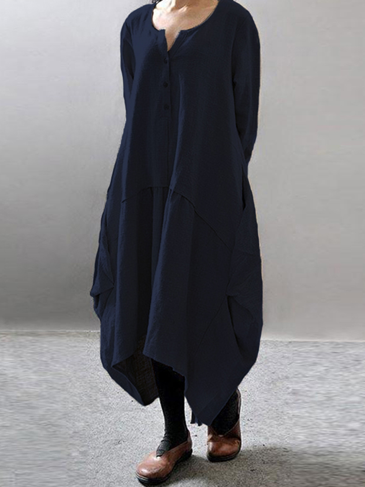 Women Pure Color Long Sleeve Asymmetric Hem Baggy Dresses